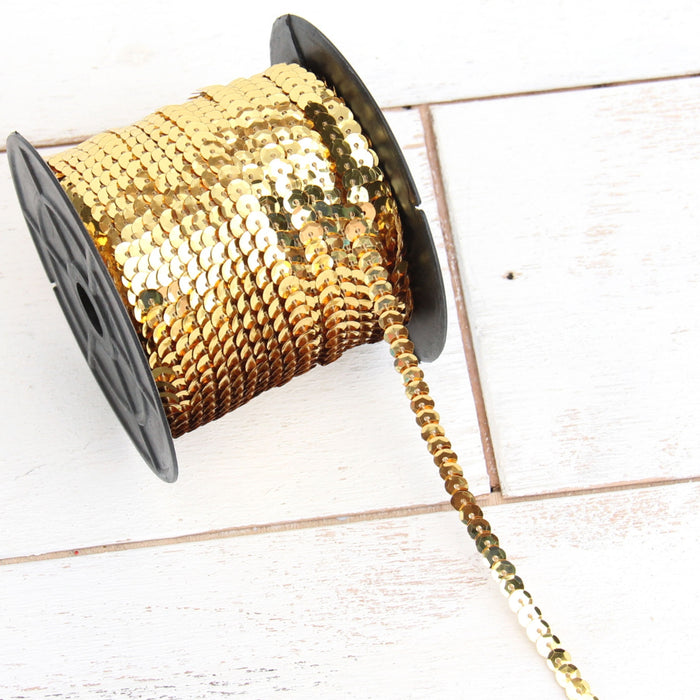 6MM Sequin String 80YD Roll - Gold Faceted LZ - Threadart.com