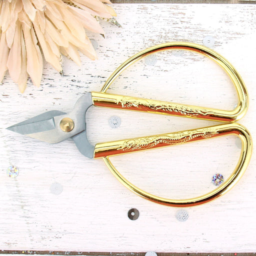 Short Cut Scissors With Large Gold Handles - Threadart.com