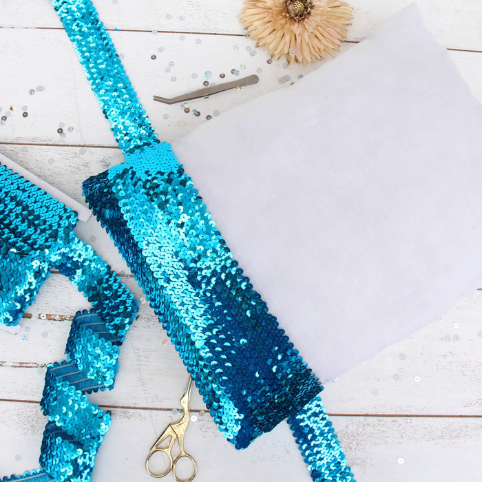 Stretch Sequin Roll - 1in - Aqua - 10 Meters (11 Yards) - Threadart.com