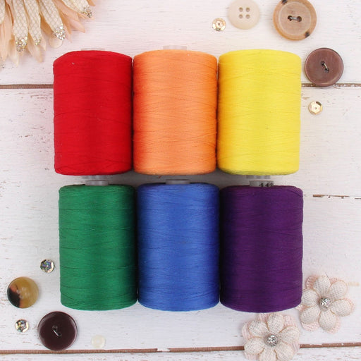 Cotton Quilting Thread Set - 6 Rainbow Tones - 1000 Meters - Threadart.com