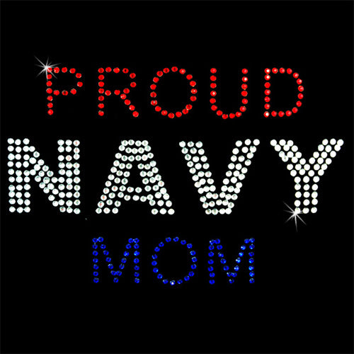 Hot Fix Heat Transfer Rhinestone Motif Proud Navy Mom - Threadart.com