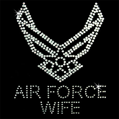 Hot Fix Rhinestone Heat Transfer Motif Air Force Wife - Threadart.com