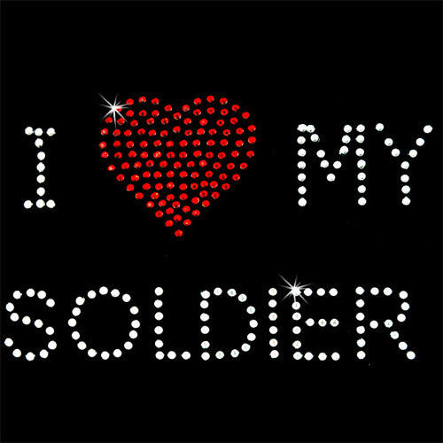Hot Fix Rhinestone Heat Transfer Motif I Love My Soldier - Threadart.com