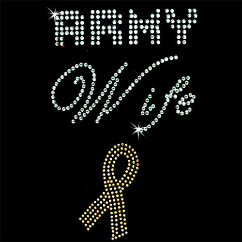 Hot Fix Rhinestone Heat Transfer Motif  Army Wife - Threadart.com