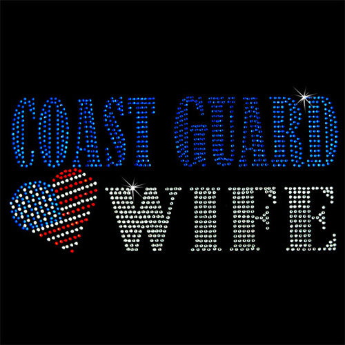 Hot Fix Rhinestone Heat Transfer Motif Coast Guard Wife - Threadart.com