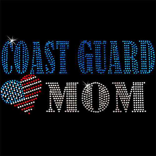 Hot Fix Rhinestone Heat Transfer Motif Coast Guard Mom - Threadart.com