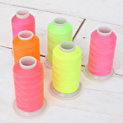 Neon Colors Polyester Sewing Thread 6 Spool Set - 600 Meter Cones - Threadart.com