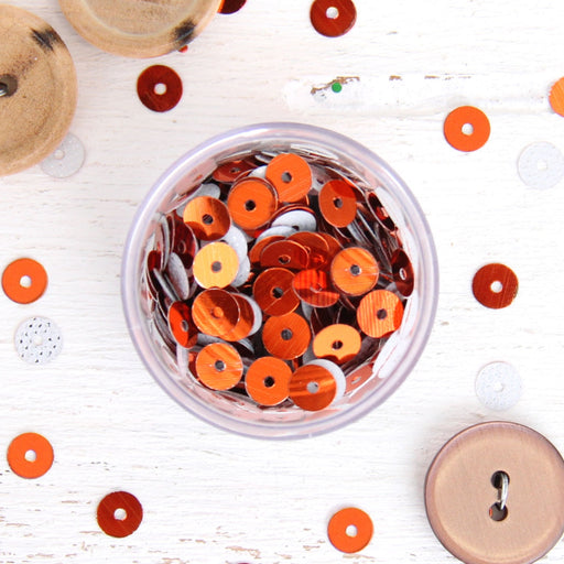 HotFix Loose Sequins - 6MM Orange Metallic - Threadart.com