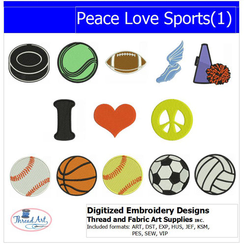 Machine Embroidery Designs - Peace Love Sports(1) - Threadart.com