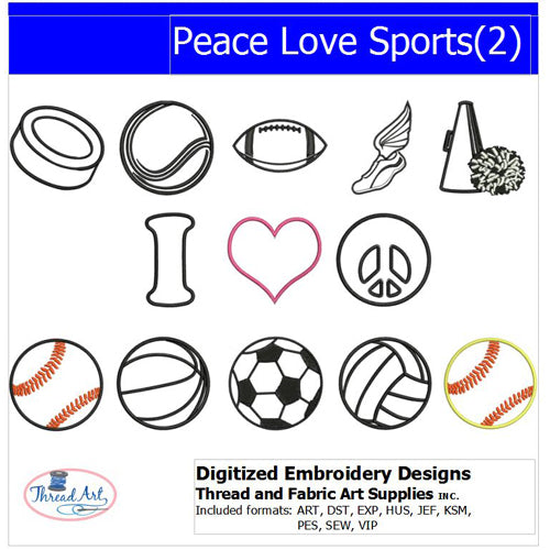 Machine Embroidery Designs - Peace Love Sports(2) - Threadart.com