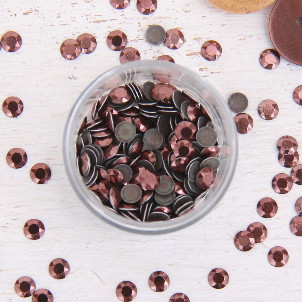 Hot Fix Metallic Rhinestones 6mm Coffee - 1 gross - Threadart.com