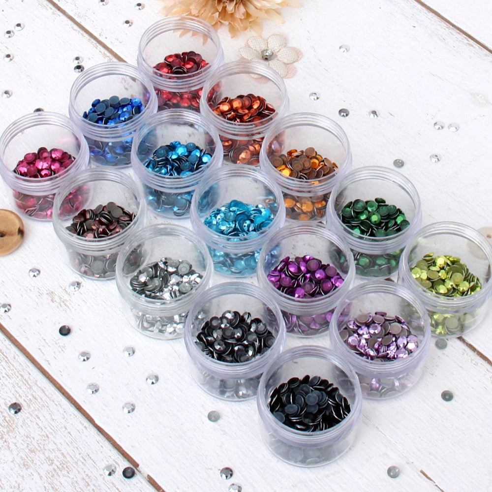 Hot Fix Metallic Rhinestones 5mm - 15 Color Set - Threadart.com
