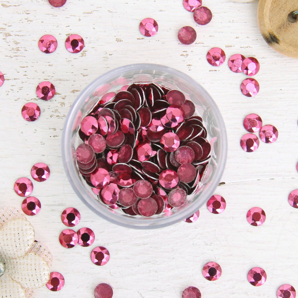 Hot Fix Metallic Rhinestones 6mm Pink - 1 gross - Threadart.com