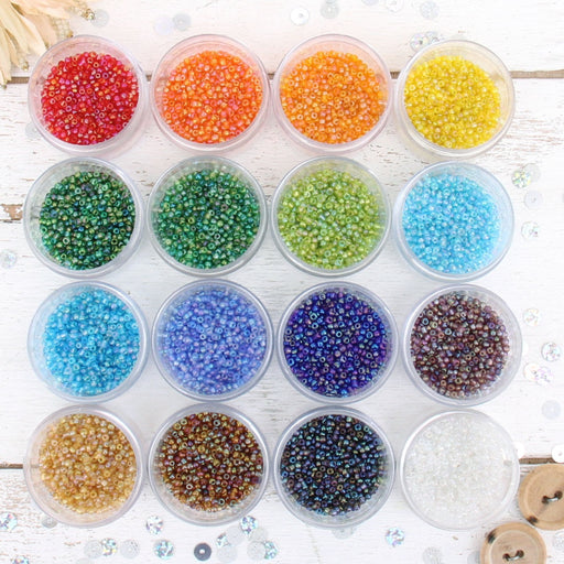 16 Color Set of Glass Seed Beads - Size 12, Round 2mm - Threadart.com