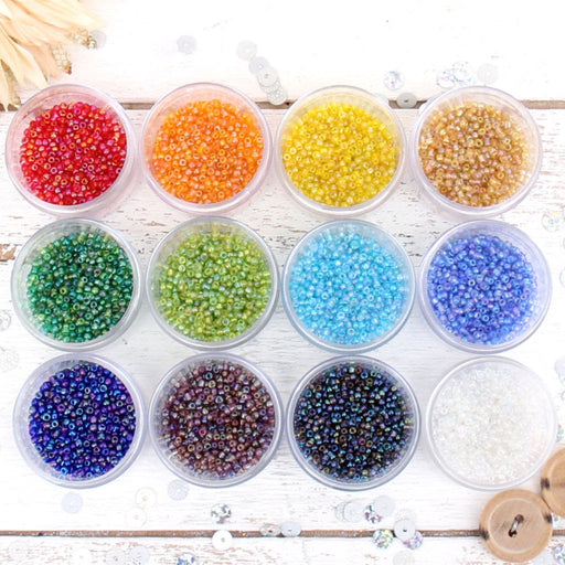 12 Color Set of Glass Seed Beads - Size 12, Round 2mm - Threadart.com