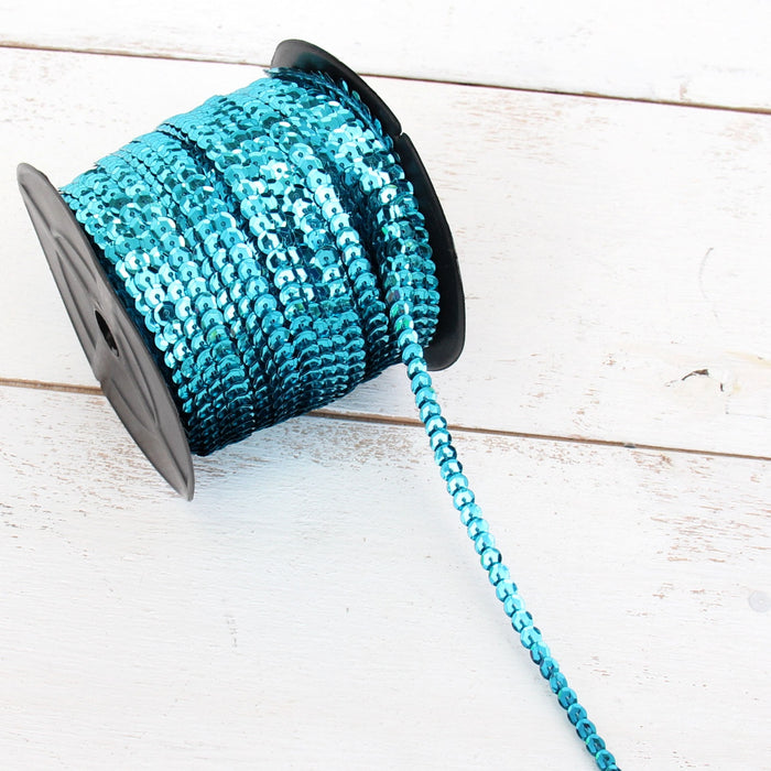 6MM Sequin String 80YD Roll - Aqua Flat Metallic - Threadart.com