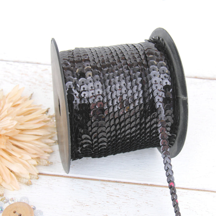 6MM Sequin String 80YD Roll - Black Faceted LZ - Threadart.com