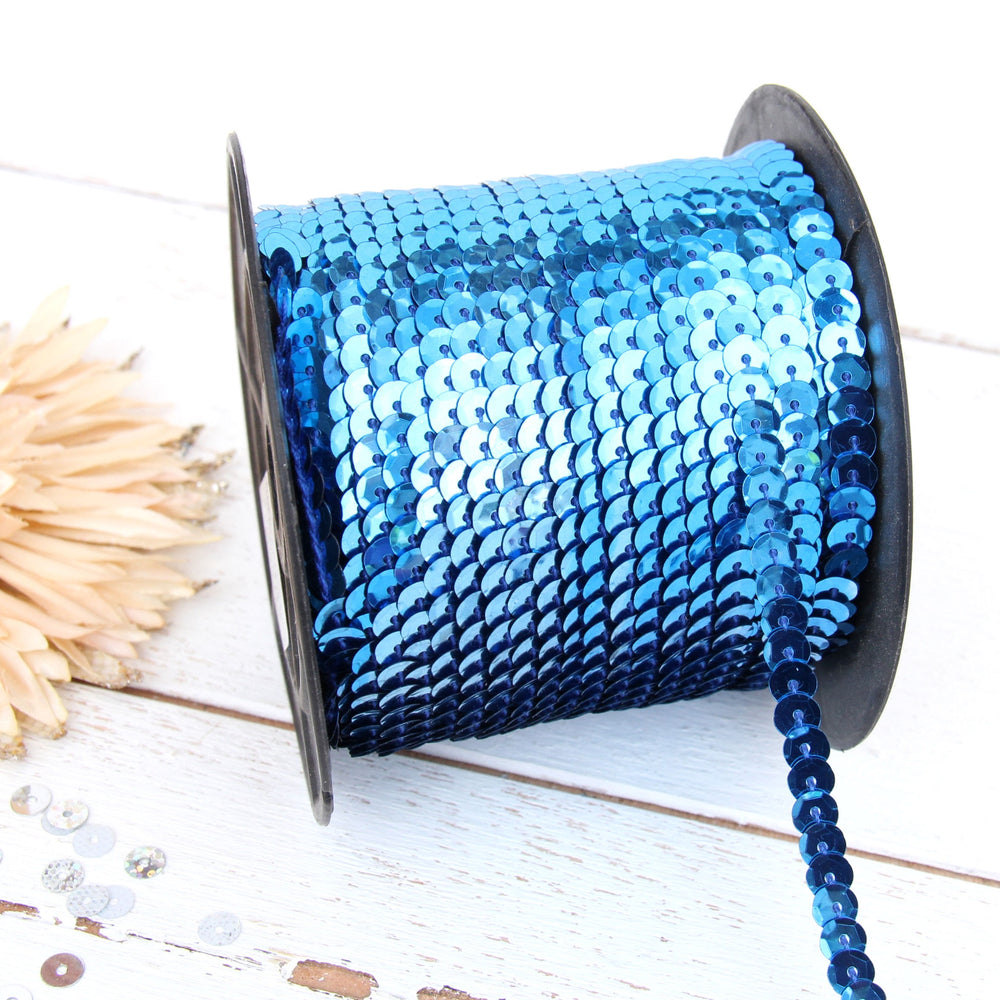 6MM Sequin String 80YD Roll - Blue Faceted Metallic - Threadart.com