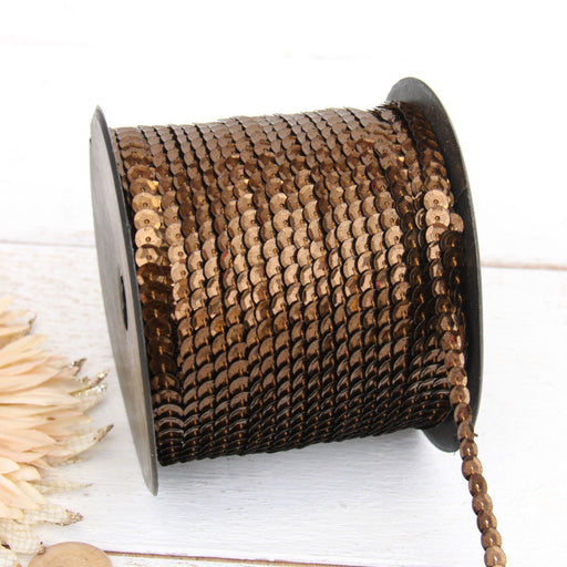 6MM Sequin String 80YD Roll - Chocolate Metallic - Threadart.com