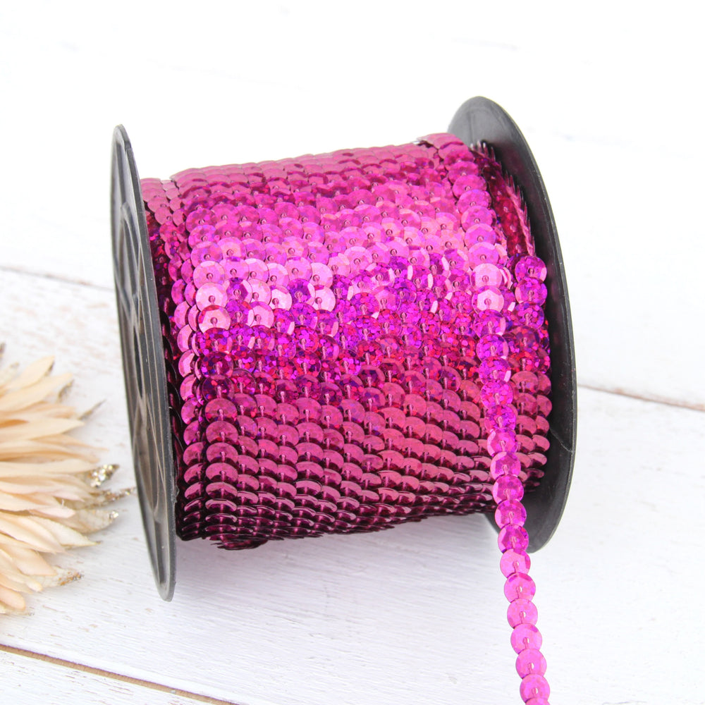 6MM Sequin String 80YD Roll - Fuchsia Faceted LZ - Threadart.com