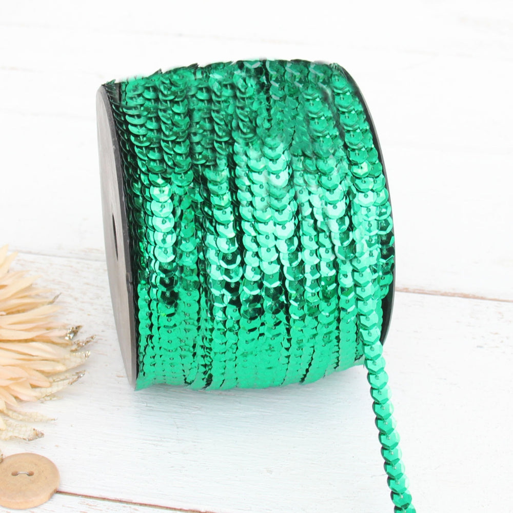 6MM Sequin String 80YD Roll - Emerald Flat Metallic - Threadart.com