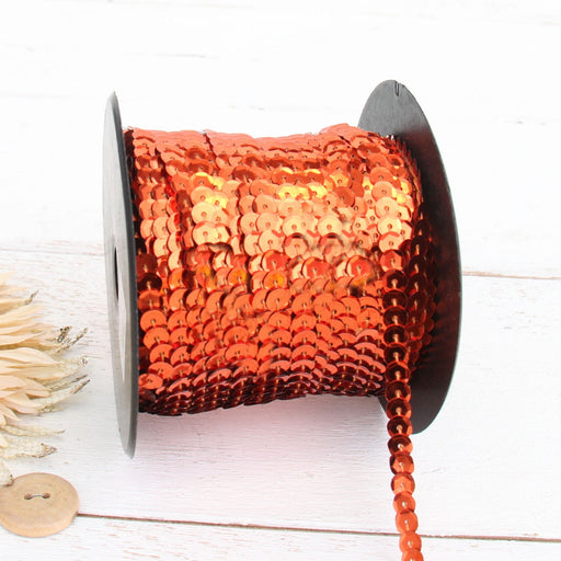 6MM Sequin String 80YD Roll - Orange Metallic - Threadart.com