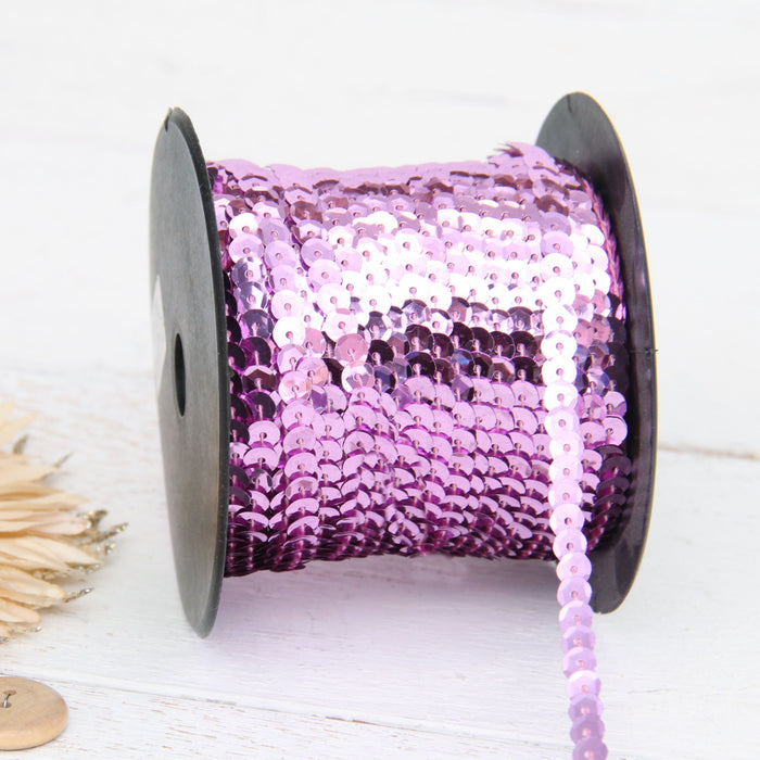 6MM Sequin String 80YD Roll - Pink Faceted Metallic - Threadart.com