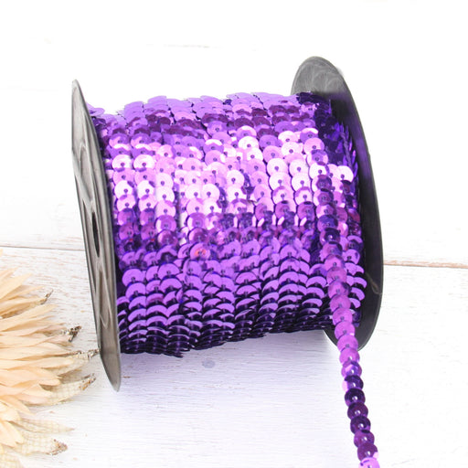 6MM Sequin String 80YD Roll - Purple Faceted Metallic - Threadart.com