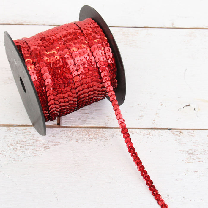 6MM Sequin String 80YD Roll - Red Faceted LZ - Threadart.com