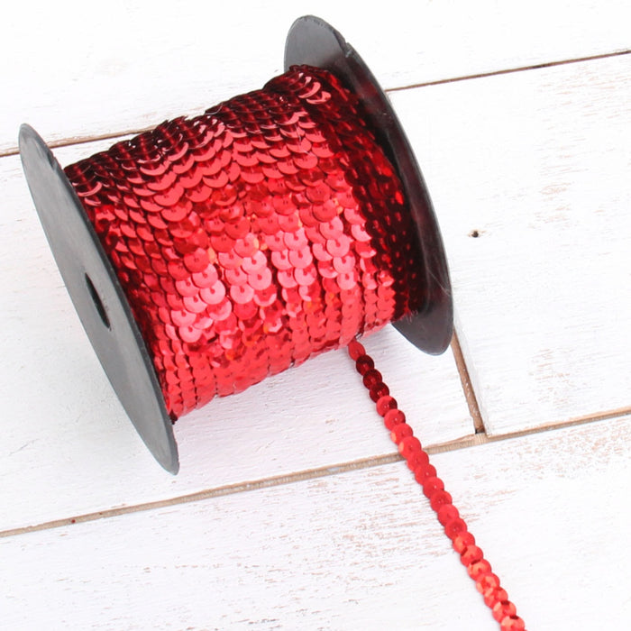 6MM Sequin String 80YD Roll - Red - Threadart.com