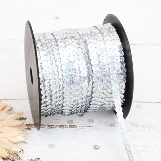 6MM Sequin String 80YD Roll - Silver Faceted LZ - Threadart.com