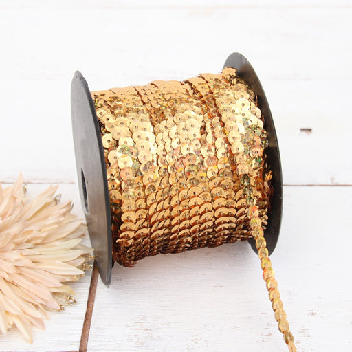6MM Sequin String 80YD Roll - Gold Faceted Metallic - Threadart.com