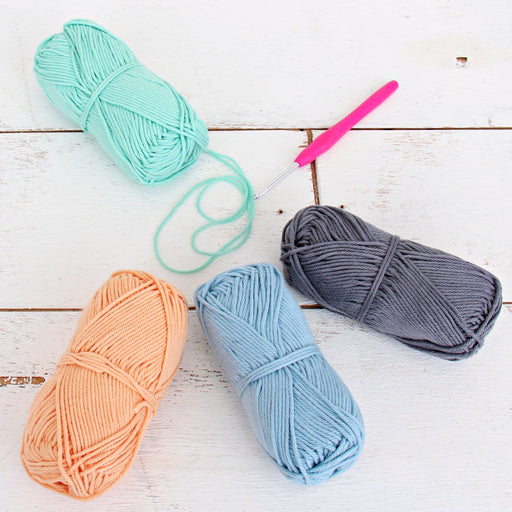 Crochet 100% Pure Cotton Yarn Set  - 4 Pack of Soft Pastel Colors - Threadart.com