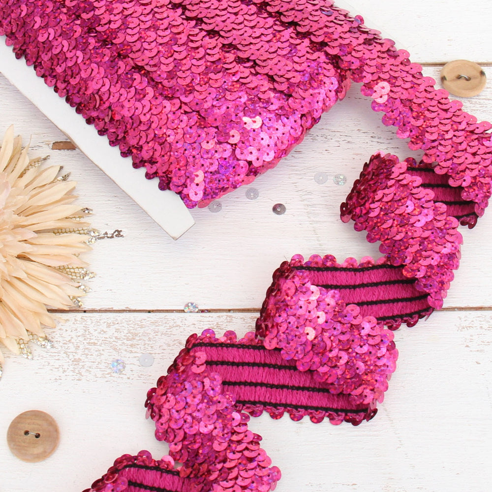 Stretch Sequin Roll - 1 1/2in - Bright Pink - 10 meters (11 yards) - Threadart.com