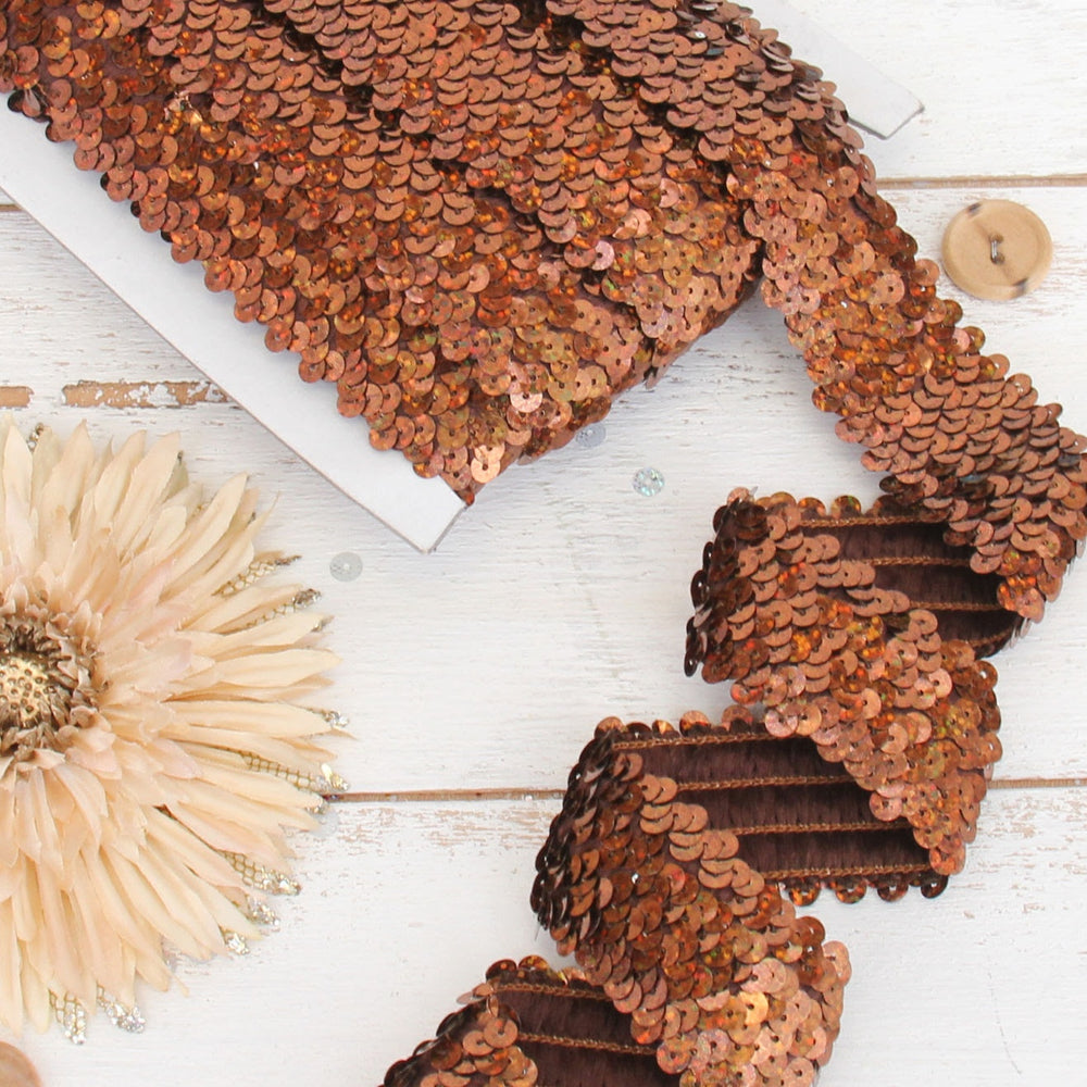 Stretch Sequin Roll - 1 1/2in - Chocolate - 10 meters (11 yards) - Threadart.com
