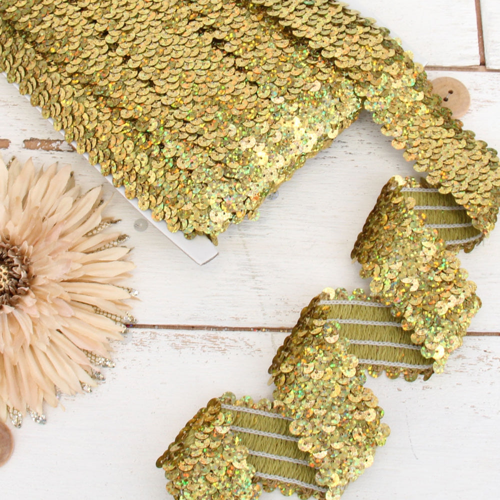 Stretch Sequin Roll - 1 1/2in - Gold - 10 meters (11 yards) - Threadart.com