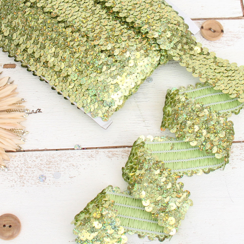 Stretch Sequin Roll - 1 1/2in - Lime Green - 10 meters (11 yards) - Threadart.com