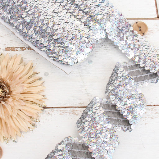 Stretch Sequin Roll - 1 1/2in - Silver - 10 meters (11 yards) - Threadart.com