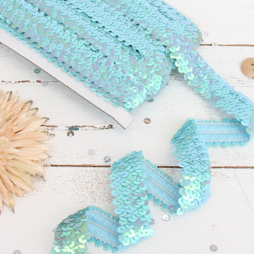 Stretch Sequin Roll - 1in - Light Blue - 10 meters (11 yards) - Threadart.com