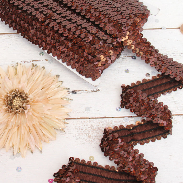 Stretch Sequin Roll - 1in - Chocolate - 10 meters (11 yards) - Threadart.com
