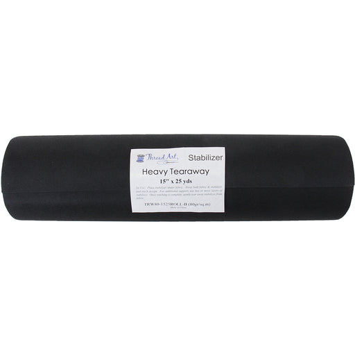 Black Heavy Tearaway Embroidery Backing Stabilizer - 15 inch 25 yd roll - Threadart.com