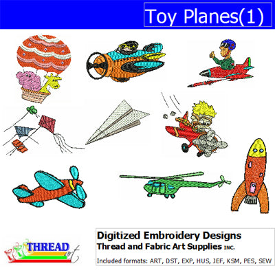 Machine Embroidery Designs - Toy Planes(1) - Threadart.com