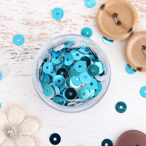 HotFix Loose Sequins - 6MM Turquoise Metallic - Threadart.com