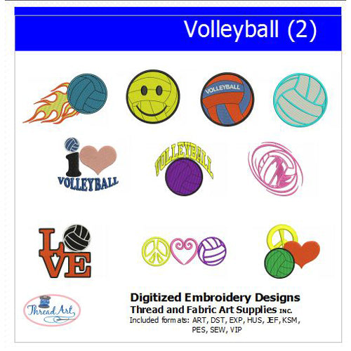 Machine Embroidery Designs - Volleyball(2) - Threadart.com