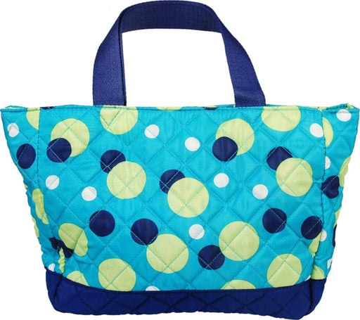 Small Quilted Tote - Aqua Dots - Threadart.com