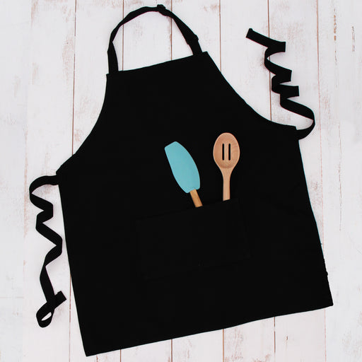Black Canvas 100% Cotton Adjustable Apron Bib with Twin Pockets - Threadart.com