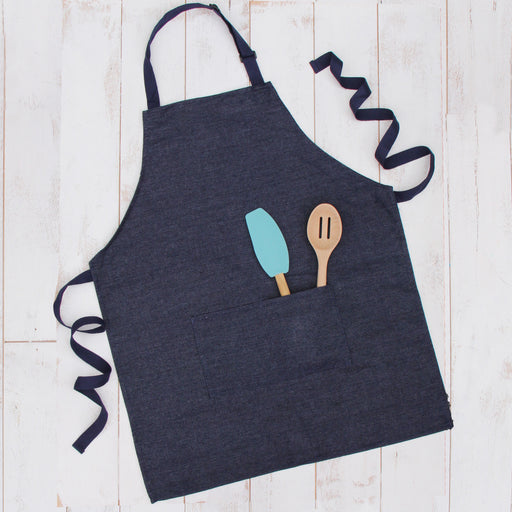 Denim Canvas 100% Cotton Adjustable Apron Bib with Twin Pockets - Threadart.com