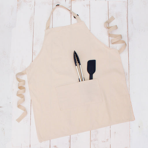 Natural Canvas 100% Cotton Adjustable Apron Bib with Twin Pockets - Threadart.com