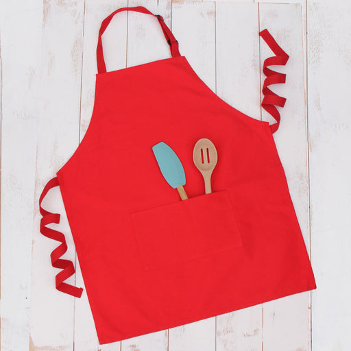 Red Canvas 100% Cotton Adjustable Apron Bib with Twin Pockets - Threadart.com