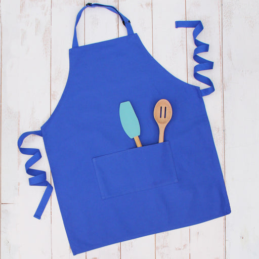 Royal Blue Canvas 100% Cotton Adjustable Apron Bib with Twin Pockets - Threadart.com